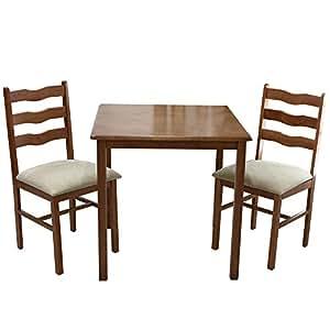 UNE BONNE(ウネボネ) 天然木使用 木製 シンプル コンパクト ダイニングセット 2人用 3点セット (食卓が幸せになるダイニングテーブル・椅子セット) BROWN