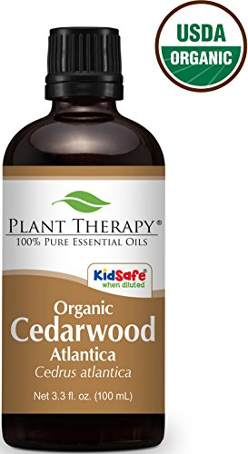 USDA Certified Organic Cedarwood Atlas Essential Oil. 100 ml (3.3 oz). 100% Pure, Undiluted, Therapeutic Grade.