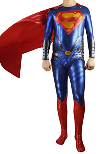 [Adult Halloween Deluxe 1:1 Zentai Tights Superman Costume Jumpsuits (XL)] (Plus Size Deluxe Superman Costumes)