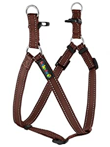"Empire Tracks Adjustable Nylon Harness, Step In Dog Harness by Kakadu Pet, Large, 1"" x 21-33"", Earth (Brown with White Stitch)"