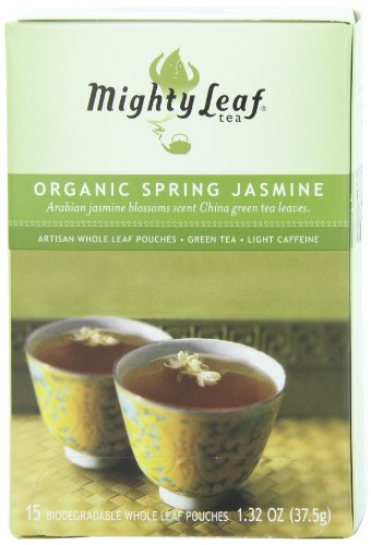 Mighty Leaf Tea, Organic Spring Jasmine, 15-Count Whole Leaf Pouches (Pack of 3)