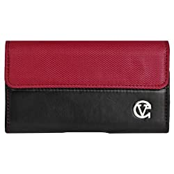 Red & Black Portola Executive Leather Holster Carrying Case with Fixed Belt-Clip for Nokia Lumia 620 Windows Smart Phone + Screen Protector