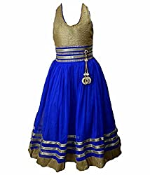 Motley Girls' Dress (8-9-M035_8-9 Years_Blue _8-9 Years)
