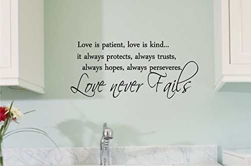 Love Is Patient, Love Is Kind...It Always Protects, Always Trusts, Always Hopes, Always Perserveres, Love Never Fails. Vinyl Wall Art Inspirational Quotes And Saying Home Decor Decal Sticker front-796527