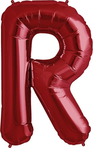 Letter R - Red Helium Foil Balloon - 34 inch - 1