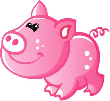 Children's Wall Decals - Cute Baby Pink Cartoon Pig - 24 inch Removable Graphic