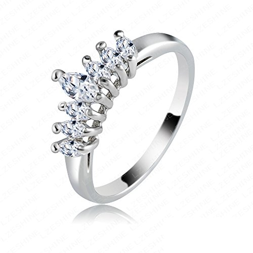 K-Design Hot Sale Simple Design 18K Rose Gold/ Platinum Plating Genuine Swiss Ziron Crown Shape Popular Rings Ric0003 10.0