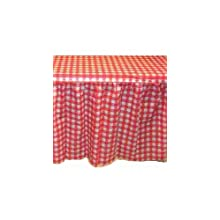 "Kwik-Cover KS3072PK-RW PKG. Red Gingham Kwik-Skirt With 30"" X 72"" Kwik-Cover Fitted Table Cover With Skirt, Individually Wrapped, 2 bags of 5"