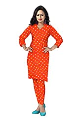 Banjara Women'S Cotton Bandhani Unstitched Dress Material (Rf28_Orange_Free Size)
