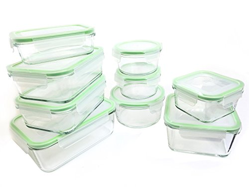 Kinetic 55041 18 Piece Glassworks Oven Safe Glass Lock Food Storage Container, Clear (Lock And Seal Glass Containers compare prices)