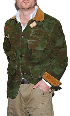 Buy Polo Ralph Lauren Mens Camo Army Hunting Canvas Jacket Coat Green Brown by RALPH LAUREN