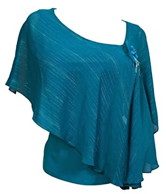 eVogues Plus size Sheer Layered Glitter Poncho Top Teal - 3X at Amazon