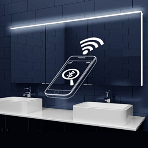 Design Bathroom Mirror LED Lighting Acrylic Lichtleitenden Stripes And  Bluetooth Speaker 162 X 70 X 12