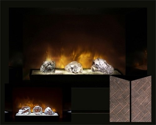"Modern Flames Hf60Cbi Built In Red Herringbone Brick 60"" Fireplace /W Crystal Glass Burners"