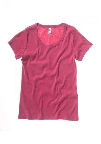Bella Canvas Ladies' Baby Rib Short-Sleeve Scoop Neck T-Shirt - RASPBERRY - XL