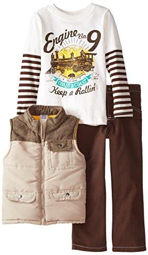 BoyzWear Little Boys' 3 Piece Cotton Engine No 9 Vest Set with Pullover, Beige, 6