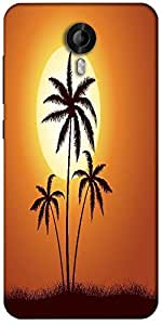 Snoogg Vector Summer Illustration With Palm Trees Designer Protective Back Case Cover For Micromax Canvas Nitro 3 E455