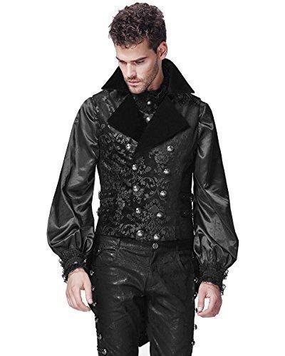 Punk Rave Uomo Gilet Frac Velluto Nero Gotico Steampunk Vittoriano - cotone, Nero, 62% cotone 5% spandex 3% rayon 30% poliestere \n62% cotone, Uomo, XXX-Large