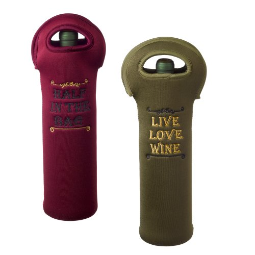Grasslands Road In Vino Veritas Neoprene Wine Bottle Gift Bag, 14-Inch, Set Of 4