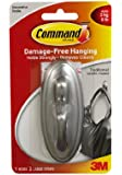 Command Traditional Large Plastic Hook with Metalic Brushed Nickel Finish