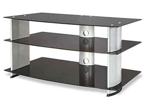 Supporto universale per TV LCD e Plasma, Guarnieri GN 378 costruito in alluminio, cristalli temperati serigrafati neri, ruote di movimento, massimo peso 50 KG. Finitura Nero e silver