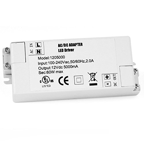 COOLWEST 60W 12V Power Supply Driver Transformer for LED Flexible Strip Light (Led Tape Power Supply compare prices)