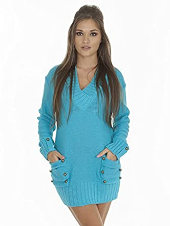 Love My Fashions Womens Ladies Full Length 14 Button V-Neck Knitted Jumper Dress