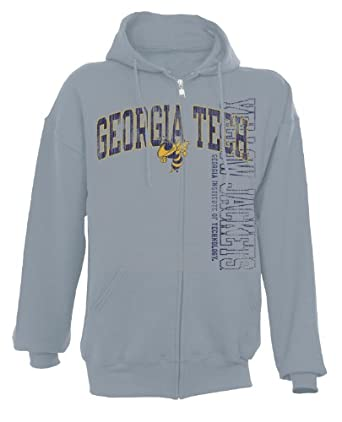 NCAA Georgia Tech Yellowjackets Men's Dri-Power Fleece Full Zip Hood (Oxford, Medium)