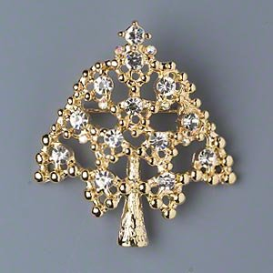 Lovely and Fun Christmas Tree Pin / Brooch, Gold-colored Pewter and Clear Ab Diamond-look Glass Rhinestones,