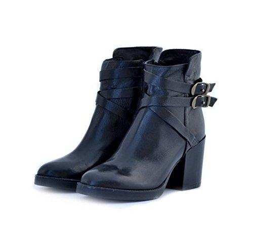 Scarpe stivaletti tronchetti donna Manas numero 36 152M1403SQNERO in pelle nera con tacco comodo