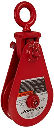 "Gunnebo-Johnson SB 8S 6B T Single Sheave Snatch Block with Tailboard, 17636 lbs Load Capacity, 6"" Sheave, 5/8"" - 3/4"" Wire Rope"