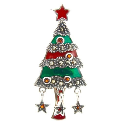Sterling Silver ,Marcasite, red and green Enamel Christmas Tree Pin.