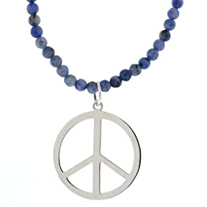"""Sterling Silver Peace Sign on Sodalite Beaded Necklace, 16+2"""" Extender"""