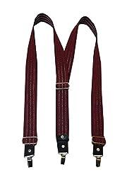 Navaksha Maroon Adjustable Suspender