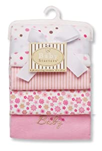 Baby Starters Baby Receiving Blanket, Pink, 4 Pack