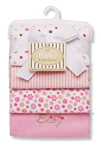 Baby Starters Baby Receiving Blanket, Pink, 4 Pack (Discontinued by Manufacturer)