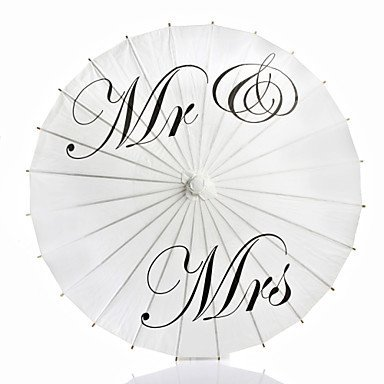 Elfun(TM) Just Married Mr and Mrs Thank You Painted White Paper Parasol Umbrella for Wedding Photographs Photo Props (Mr and Mrs)