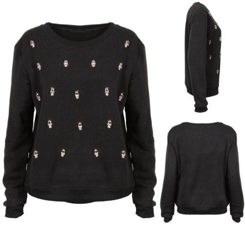 W7 New Womens Black Skull Detail Sweatshirt Jumper Pullover Top Ladies Fashion Size SM