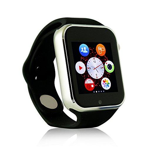 YUNTAB(JP) bluetooth watch k9 腕時計型スマホ 2G 通話機能 30万画素カメラ搭載 着信腕時計 ボイスレコーダー SIMフリー 着信ブレス スマートウォッチ Bluetooth搭載 デジタル 腕時計 着信をバイブ・着信を音でお知らせ For Samsung /Sony Xperia, Bluetooth for iphone Sport Watch Silver