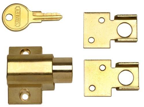 Stanley 610500 - Bright Brass(3) Window Vent Lock Guard front-884014