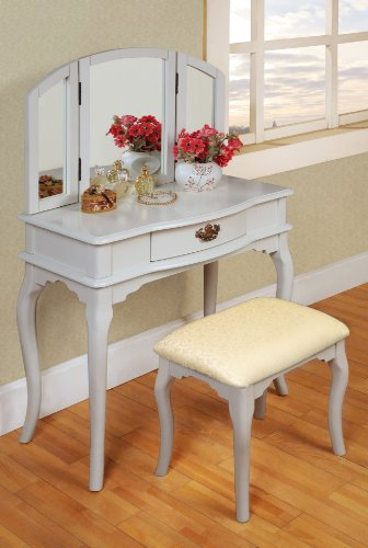 William's Home Furnishing White Tri-mirror Vanity