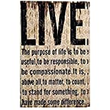"""Adeco Decorative Distressed-Look """"Live"""" Wall Hanging Sign Plaque, Beige"""