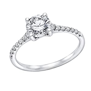 IGI Certified 14k white-gold Round Cut Diamond Engagement Ring (0.66 cttw, D Color, SI3 Clarity) - size 6