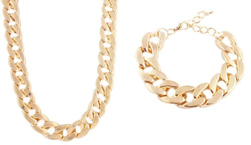Ladies Metallic Gold 22 Inch Cuban Chain Necklace & Matching 11 Inch Bracelet Jewelry Set