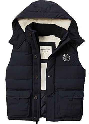 アバクロ Abercrombie & Fitch アバクロンビー&フィッチ A&F 中綿 メンズ ネイビー Men's Sherpa Lined Puffer Vest Outerwear NWT Hooded Vest Lサイズ 並行輸入品 VITA1580-L