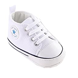 Mjun® Baby Boys Girls Toddlers Canvas Sneakers Lace Up Anti-slip Outdoor Shoes (6-12 months, white )