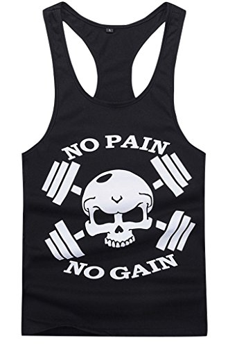Gillbro Mens T-shirt Muscoli in allenamento bodybuilding Canotta, A, M