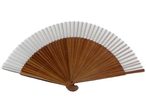 Japanese Design Silk Handheld Folding Fan, Light Beige HF-81