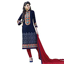 Bhelpuri Women Navy Blue Cotton Dress Material