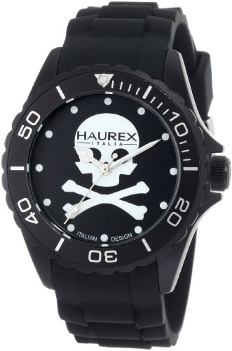 Haurex Italy Men's 1K374UNS Ink Black Dial with White Skull Rubber Band Watch